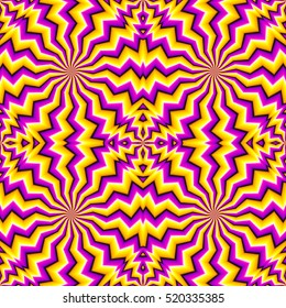 Yellow zigzags (spin illusion). Seamless pattern.