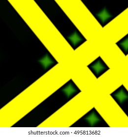 yellow-black background with a geometric pattern