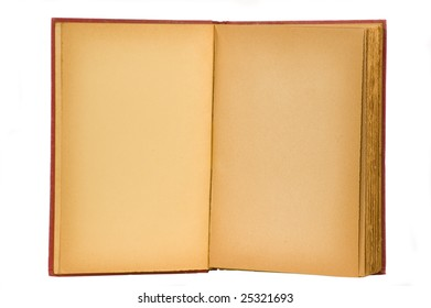 Yellowed and aged blank pages of an open book with red cover. Isolated on a white background with clipping path.