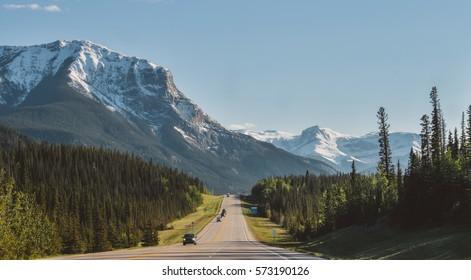 Yellowhead highway near Jasper provincial park, Alberta, Canada