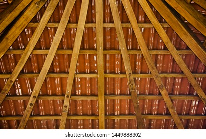 Yellowish wooden made ceiling structure isolated unique photo