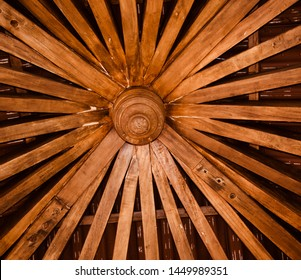 Yellowish wooden made structure isolated object unique photo