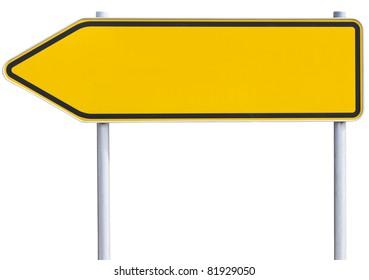 Gelbe/orangefarbene Straßenschild . Geh nach links. mit Beschneidungspfad