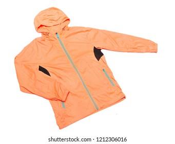 yellow-orange windbreaker jacket, rain proof jacket hoodie, track jacket sport nylon full zip isolated on white