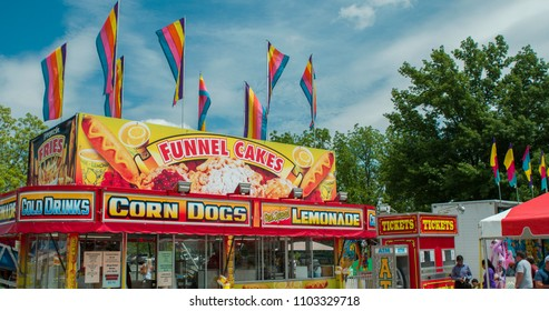 YELLOWSPRINGS, OHIO - MAY 26: Memorial day carnival at Young's Jersey Dairy Farms with food truck selling corn dogs and fair food on May 26, 2018 in Yellowsprings, Ohio.