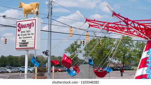 YELLOWSPRINGS, OHIO - MAY 26: Memorial day carnival at Young's Jersey Dairy Farms rides and family fun on May 26, 2018 in Yellowsprings, Ohio.