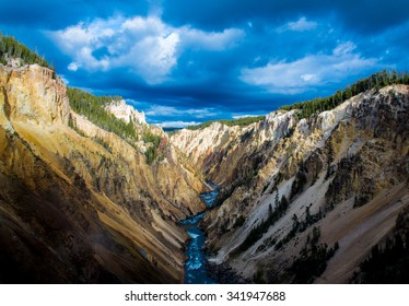 Yellowstone Canyon looking downriver of Lower Yellowstone Falls.