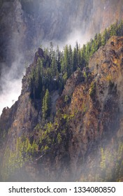 Yellowstone gorge mist from the falls