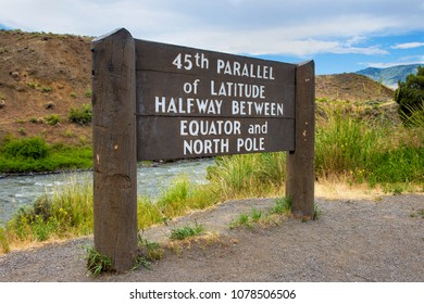 Yellowstone National Park, Montana, USA: 45th Parallel Of Latitude marker (Halfway between Equator and North Pole) near Gardiner.