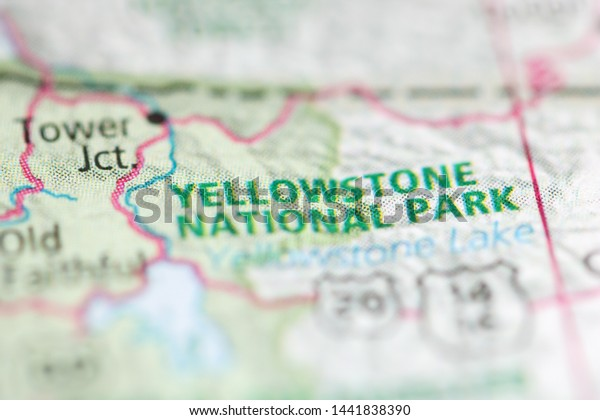 Yellowstone National Park On Geographical Map Stock Photo