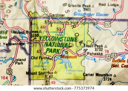 Yellowstone National Park On Map USA Stock Photo (Edit Now ...