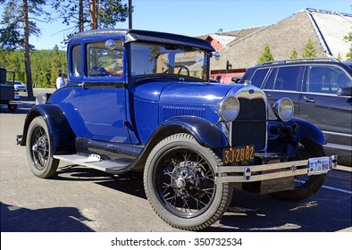 YELLOWSTONE NATIONAL PARK, WYOMING - CIRCA SEPTEMBER 2015. The Model A Ford,  successor of the Model T, was one of the best selling cars in America in the 1920s and 1930s.