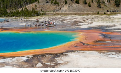 Yellowstone National Park, Wyoming - July 10, 2018: The amazing natural beauty of Yellowstone National Park.