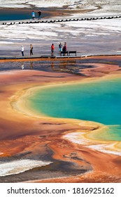Yellowstone National Park, Wyoming / USA September 3rd, 2020 : Grand prismatic spring with tourists in the background.