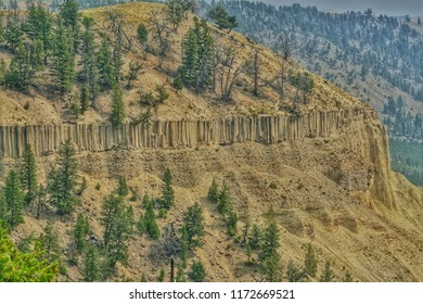 Yellowstone river valley with geological features