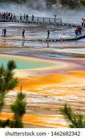 Yellowstone, USA - June 6, 2019: Tourist visiting the grand prismatic spring Basin and Excelsior Geyser Crater in Yellowstone National Park, Wyoming