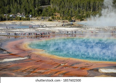 YELLOWSTONE, USA-SEPTEMBER 19:View of Grand Prismatic Spring in Midway Geyser Basin on September 19, 2019 in Yellowstone National Park, Wyoming, USA. It is the largest hot spring in the United States.