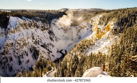 yellowstone waterfalls winter