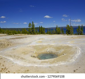 Yellowstone  - West Thumb Geyser Basin, Percolating spring. Scenic Landscapes of Geothermal activity, Yellowstone National Park, UNESCO World Heritage Site, USA