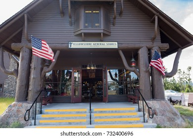 Yellowstone, Wyoming: July 14, 2017:  Yellowstone General Stores is operated by Delaware North, at Yellowstone National Park.  Yellowstone is the first national park in the United States.