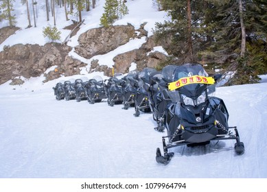 Yellowstone, Wyoming/USA - 03 11 2017 : Yellowstone's activity - snowmobile guide tour in winter by skidoo