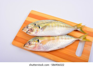 Yellow-Tail Scad fish. Food Preparation.