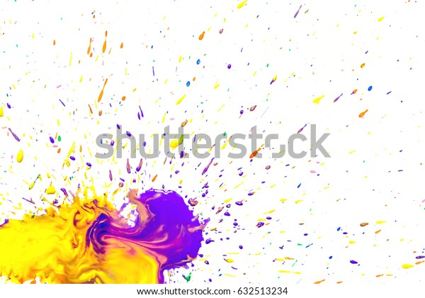 Yellow-violet watercolor blots isolated on white background.