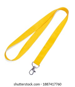 Yelow Lanyard Neck Strap with Metal Lobster Clip on white background