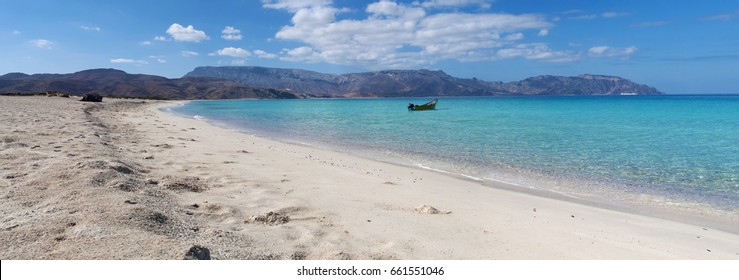 Yemen, 11/02/2013: Ras Shuab, Shuab Bay beach, one of the most famous beaches of Socotra, whose archipelago has been included in Unesco world heritage site for its biodiversity and endemic peculiarity