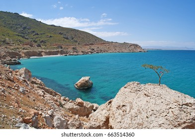 Yemen, 11/02/2013: view of the rocky coastline and the crystal clear water of the island of Socotra, Unesco world heritage site since 2008 for its biodiversity and its endemic peculiarities