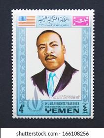 YEMEN - CIRCA 1968: a postage stamp printed in Yemen showing an image of Nobel Peace prize winner Martin Luther King Jr., circa 1968.