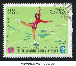 YEMEN - CIRCA 1968: stamp printed by Yemen, shows Figure Skating, circa 1968