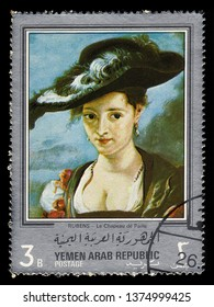 Yemen - CIRCA 1968: stamp printed in Yemen Arab Republic, shows the straw hat, paintings by Rubens, silver frame, circa 1968