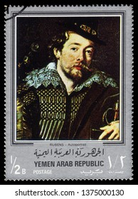 Yemen - CIRCA 1968: stamp printed in Yemen Arab Republic, shows self-portrait with Isabella Brant (detail), paintings by Rubens, silver frame, circa 1968