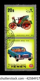 YEMEN - CIRCA 1970: Yemen 3c stamp commemorates first Mercedes Benz of 1893.