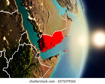 Yemen during sunrise highlighted in red on planet Earth with visible country borders. 3D illustration. Elements of this image furnished by NASA.