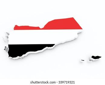Yemen flag on 3d map