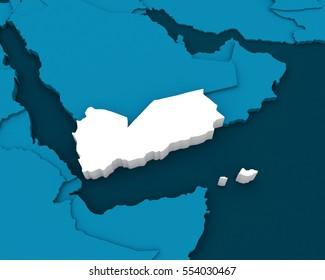 yemen map 3D illustration