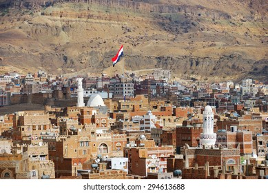 Yemen, the old city of Sanaa. Inhabited for more than 2.500 years at an altitude of 2.200 m, the Old City of Sanaa is a UNESCO World Heritage City now destroyed by the civil war