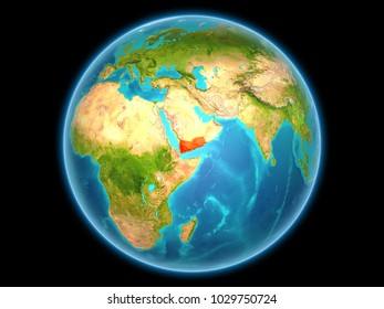 Yemen in red on planet Earth as seen from space on full sphere. 3D illustration. Elements of this image furnished by NASA.