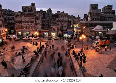 Yemen, Sana'a, August 10,2017 an evening view of the old city of Sana'a