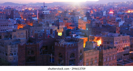 Yemen. Sunrise in the old city of Sanaa. Inhabited for more than 2.500 years at an altitude of 2.200 m, the Old City of Sanaa is a UNESCO World Heritage City now destroyed by the civil war
