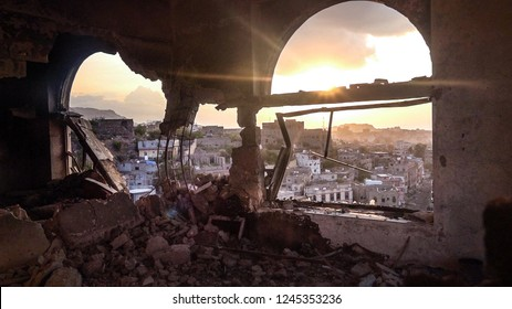 Yemen / Taiz City - Aug 06 2018 The devastation caused by the war has caused havoc in civilian neighborhoods and houses of civilians in the Yemeni city of Taiz.