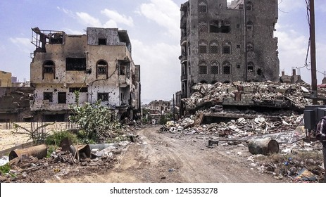 Yemen / Taiz City - Oct 22 2018 The destruction and remnants of war caused by the militias of Houthi and its war on the city of Taiz, South Yemen since early 2015.