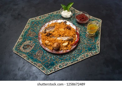 Yemeni Style Siadeah - fish Kabsa. Mixed rice dishes that originates in Yemen. Middle eastern food.