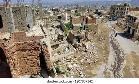 Yemen-Taiz is a massive destruction caused by war and destruction...