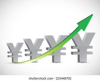 yen arrow up illustration design over a white background