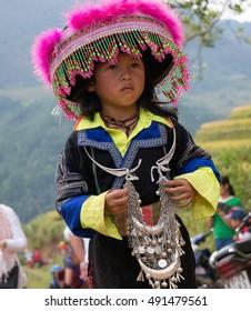 YEN BAI, VIETNAM, September 27, 2016 Hmong children, highland Yen Bai, Vietnam. wearing traditional costumes.