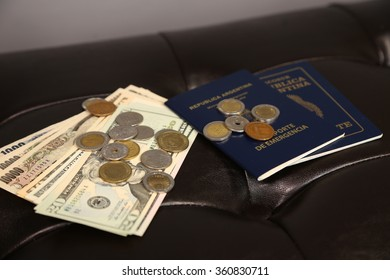 yen , dollar , coin  and passport