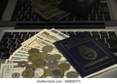 yen , dollar , coin  , passport and notebook
